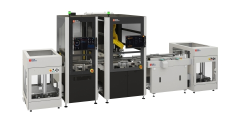 The front view of a Bright Machines Microfactory, which brings intelligent automation to factories. New microfactory updates allow manufacturers to deploy lines and pivot products faster.(Photo: Business Wire)