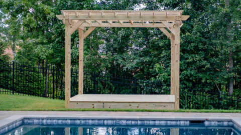 A pergola adds visual interest and a comfortable, protected gathering area to the backyard living space. (Photo: Business Wire)