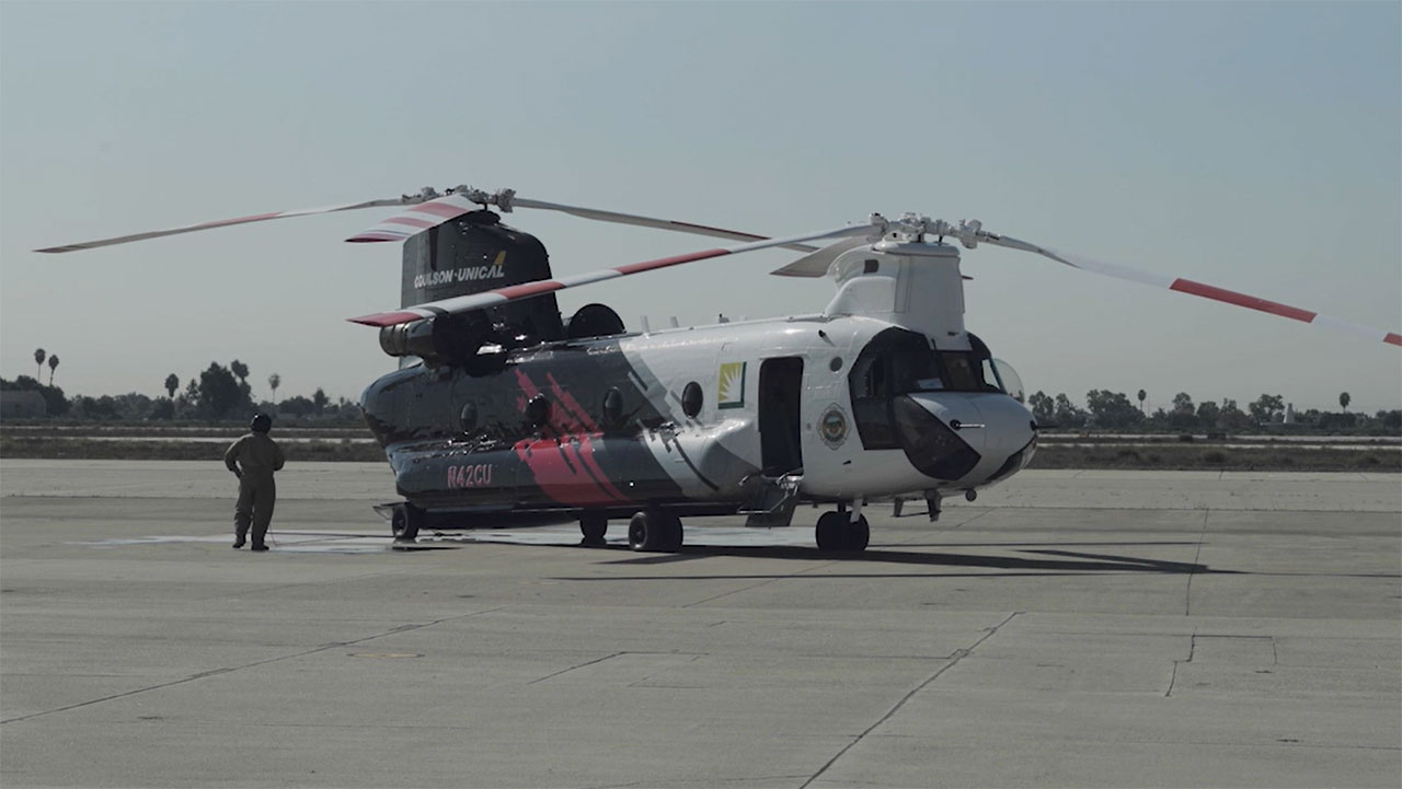 B-Roll: Live Demo of World's Largest Helitanker at Joint Forces Training Base, Los Alamitos, CA, Sep. 30 2020