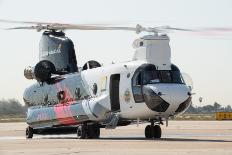 The CH-47 Chinook helitanker is based at the Joint Forces Training Base in Los Alamitos, Calif., and is available around-the-clock for daytime and nighttime fire suppression within SCE's 50,000-square-mile service area — and beyond, if needed. Photo credit: Elisa Ferrari
