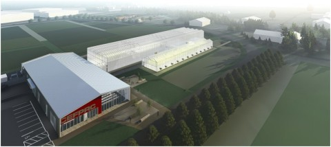 A rendering of OSU's future greenhouse and learning complex. (Photo: Business Wire)