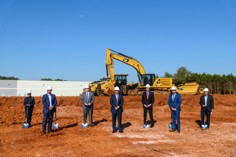 C-Store Master groundbreaking with Huntsville Madison County Chamber Vice President of Small Business & Events Pammie Jimmar, C-Store Master President Satish Kalva, Huntsville Mayor Tommy Battle, C-Store Master COO Sharan Kalva, Alabama Secretary of State John Merrill, C-Store Master CEO Sandip Patel and Geek+ Director of Business Development and Partnership Rick DeFiesta.(Photo: Business Wire)