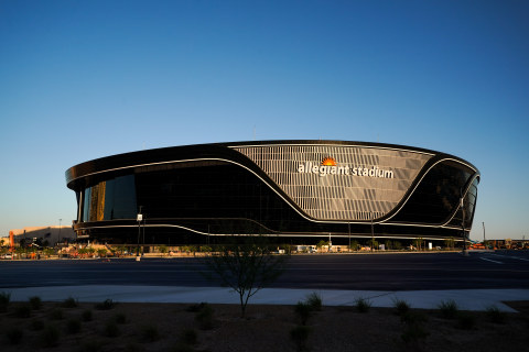 The state-of-the-art Allegiant Stadium (Las Vegas Raiders NFL football stadium) is finished with long-lasting PPG paints, coatings and specialty materials in distinctive black and silver colors. (Photo: Business Wire)