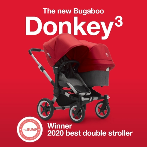 """Bugaboo Donkey 3 named best double stroller by The Bump in its 2020 Best of Baby Awards. """"The Bugaboo Donkey 3 is a true unicorn as far as double strollers go—it's the only one on the market that adjusts from a single to side-by-side double. It's an editor favorite and a Best of Baby winner for best double stroller for the second year in a row."""" (Photo: Business Wire)"""
