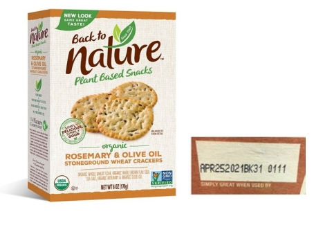 """Back to Nature Organic Rosemary & Olive Oil Stoneground Wheat Crackers package and the affected """"best by"""" date. (Photo: Business Wire)"""