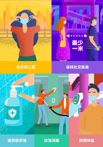 香港主导各种卫生及疾病控制措施和公共服务 市民及各行各业均贯彻社交距离、配戴口罩、消毒双手、探测体温等预防工作 (图片来源:香港旅游发展局)