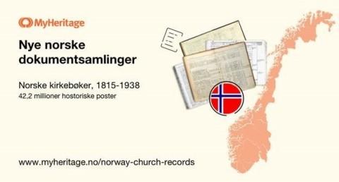 MyHeritage lanserer en ny stor samling av norske, historiske kirkebokoppføringer: Norske Kirkebøker (1815-1938) (Graphic: Business Wire)