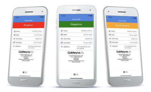GoMeyra LIMS features two first-of-its-kind mobile apps, GoMeyra COLLECT for healthcare professionals and GoMeyra SCAN for employers. (Photo: Business Wire)