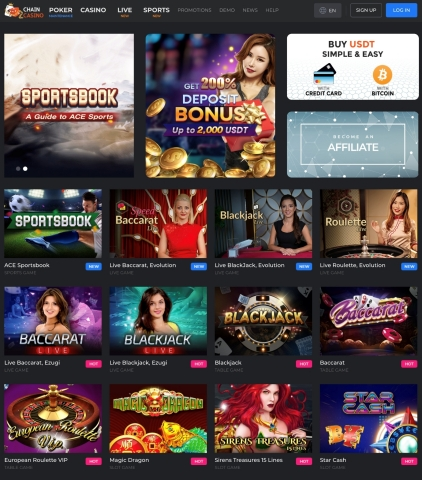 CHAIN ENTERTAINMENT LIMITED globally launched a new cryptocurrency-based casino service CHAIN CASINO developed in collaboration with ACE Entertainment. CHAIN CASINO is licensed and fully regulated by Curacao. The company received certification from iTech Labs, a leader in testing and certification for the online gaming industry, for its random number generator to ensure fair gameplay for users. The platform offers a wide assortment of live table games featuring beautiful dealers, including live blackjack, live baccarat, and live roulette. (Graphic: Business Wire)