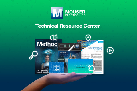 Mouser Electronics' new Technical Resource Center — which contains the global distributor's ever-expanding collection of technical articles, blogs, eBooks, and more — helps customers more quickly and easily find technical and product information across all of Mouser.com. (Graphic: Business Wire)