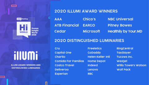 UserTesting illumi Awards 2020 (Graphic: Business Wire)