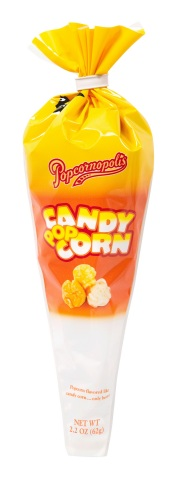 With signature flavor notes of caramelized sugar, butter, marshmallow and vanilla, Popcornopolis Candy Corn Popcorn is a delicious re-imagination of the timeless treat. (Photo: Business Wire)
