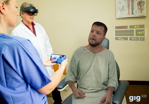 GIGXR enables remote access to live, holographic standardized patients for simulation training, which are transported by instructors using a mixed reality headset to students anywhere through their mobile devices. (Photo: Business Wire)