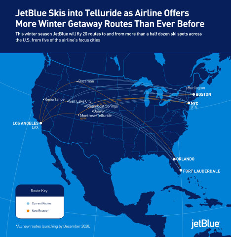 This winter season JetBlue will fly 20 routes to and from more than a half dozen ski spots across the U.S. from five of the airline's focus cities.  (Graphic: Business Wire)