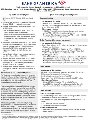 Q3 2020 Bank of America Financial Results Press Release