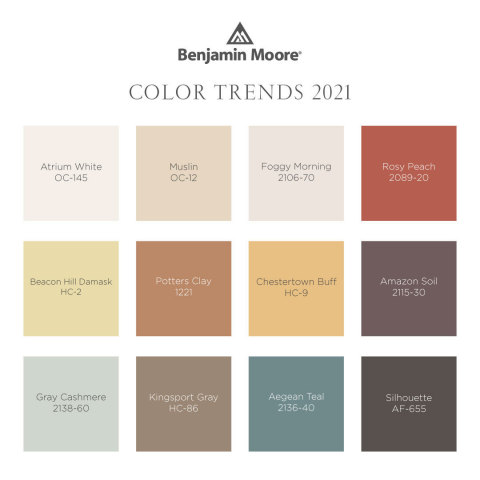 The Benjamin Moore Color Trends 2021 palette includes 12 warm, sunbaked hues. (Graphic: Business Wire)