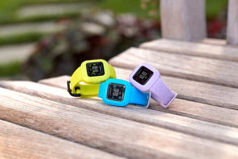 Garmin vívofit jr. 3 in Digi Camo, Blue Stars and Lilac Floral (Photo: Business Wire)