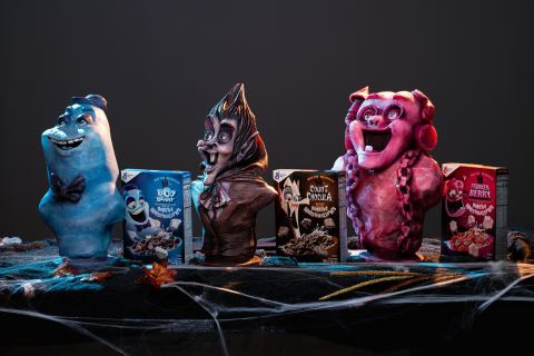 Visit @GeneralMills on Instagram to learn how to win a one-of-a kind bust of General Mills' iconic Monster Cereals characters Boo Berry, Count Chocula and Franken Berry in the #MonsterCerealSweepstakes this Halloween. (Photo: Business Wire)