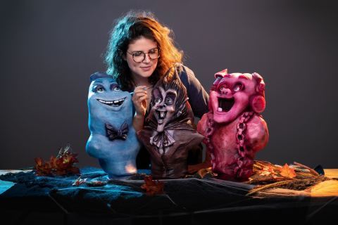 Award-winning special effects artist Karlee Morse designed one-of-a kind busts of General Mills' iconic Monster Cereals characters Boo Berry, Count Chocula and Franken Berry. Visit @GeneralMills on Instagram to learn how to win in the #MonsterCerealSweepstakes this Halloween. (Photo: Business Wire)