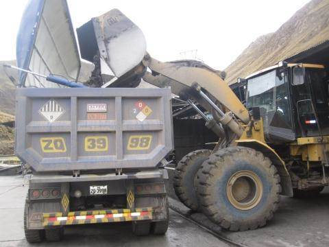 Photo 1. Concentrate Truck being loaded at Yauricocha (Photo: Business Wire)
