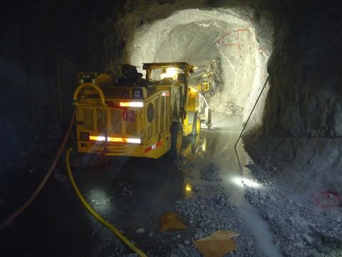 Photo 2. Jumbo in operation underground at Cusi Mine (Photo: Business Wire)