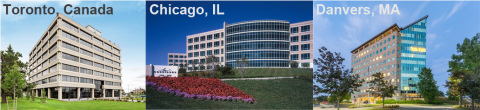 Advantech's new offices in Downers Grove, Illinois; Danvers, Massachusetts; and Toronto, Canada. (Photo: Business Wire)