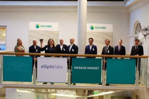 Elliptic Lab's CEO Laila Danielsen rings the bell at the Oslo Stock Exchange Merkur Market. (Photo: Business Wire)