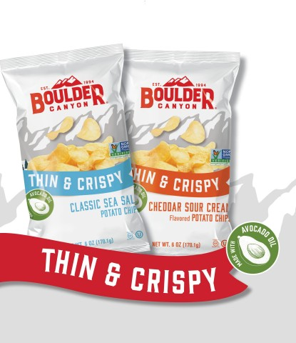 NEW! Boulder Canyon® Thin & Crispy Potato Chips, including Classic Sea Salt and Cheddar Sour Cream. (Photo: Business Wire)