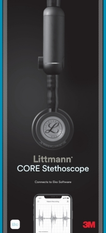 The new 3M™ Littmann® CORE Digital Stethoscope can help give clinicians a clearer picture of their patient's health with features like up to 40x amplification (at peak frequency versus analog mode), active noise cancellation, and in-app sound wave visualization. (Image credit: 3M)