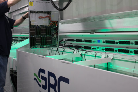 GRC ICEraQ immersion-cooling system with rack-mounted service rails for easy maintenance and hot swaps. (Photo: Business Wire)