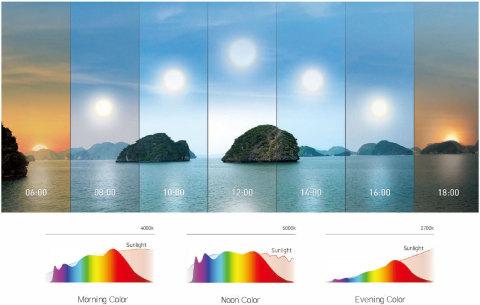 朝の光、真昼の光、夕方の光の自然光スペクトル曲線(画像:ビジネスワイヤ)
