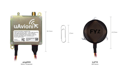 ping200X Mode S transponder with optional truFYX SBAS GPS. When paired together, the tiny duo enables unmanned systems, commonly referred to as drones, to meet global controlled airspace requirements.