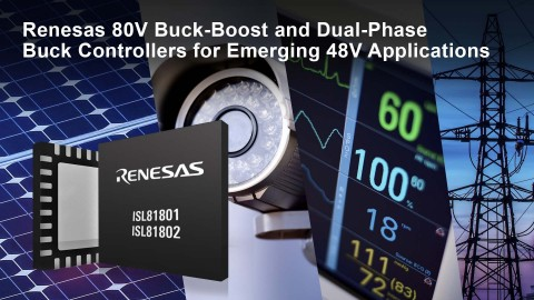 Renesas 80V buck-boost and dual-phase buck controllers for emerging 48V applications (Graphic: Business Wire)