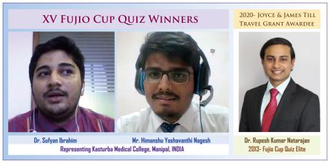 第15回フジオカップクイズで優勝したイブラヒム氏、ヒマンシュ氏(カストゥルバ大学)とジョイス&ジェームズ・ティル トラベルグラント賞2020を受賞したナタラジャン医師(2013 FCQエリート)(画像:ビジネスワイヤ)