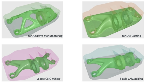 With CogniCAD 4.0, engineers and designers have the flexibility to generate effective designs within a range of manufacturing options, including additive manufacturing, 3-axis and 5-axis CNC milling, and investment and die casting. (Graphic: Business Wire)
