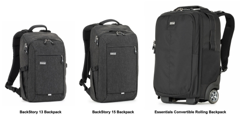BackStory 13 & 15 photo backpacks and the Essentials Convertible Rolling Backpack from Think Tank Photo. (Graphic: Business Wire)