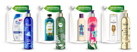 P&G Beauty Announces the Launch of Its First Ever Reusable and Refillable Aluminium Bottle System at Scale, with its BrandsHead & Shoulders, Pantene, Herbal Essences and Aussie in Europe (Graphic: Business Wire)