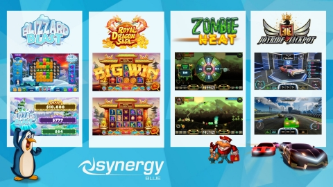 Synergy Blue debuts four new, arcade-style game titles, bringing interactive 'fun you can bet on' to every type of gamer and gambler. (Graphic: Business Wire)