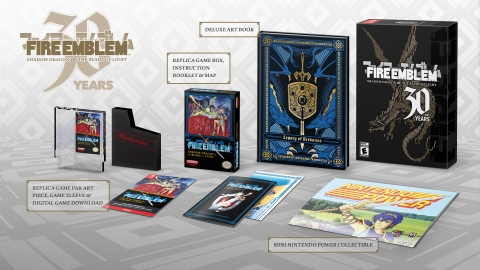 Fire Emblem 30th Anniversary Edition will be available through select retailers at a suggested price of $49.99. This collector's edition of Fire Emblem: Shadow Dragon & the Blade of Light for the Nintendo Switch family of systems will include a stylized physical NES box, a colorful, 222-page Legacy of Archanea deluxe hardbound art book and more nostalgic collectibles. (Graphic: Business Wire)