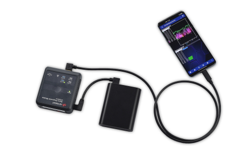 Keysight's Nemo Handy measurement software connected to the Nemo Diagnostics Module, connected to battery. (Photo: Business Wire)