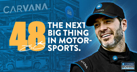 Carvana will be the primary partner for 7-time NASCAR Cup Series (NCS) Champion Jimmie Johnson and Chip Ganassi Racing (CGR) for the 2021 NTT INDYCAR SERIES racing season in the newly-formed Carvana Chip Ganassi Racing entry. (Graphic: Business Wire)