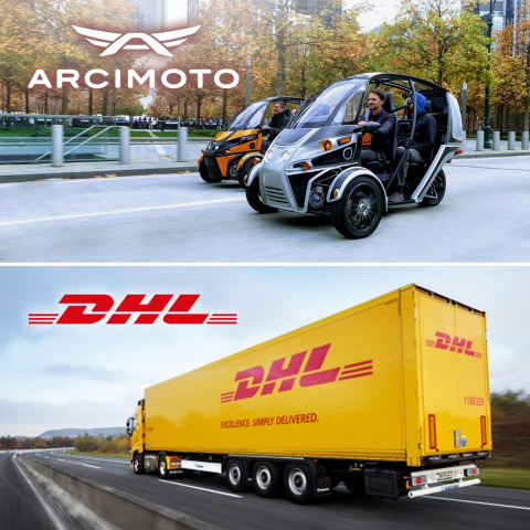 Arcimoto partners with DHL to provide nationwide home delivery of pure electric FUVs. (Graphic: Business Wire)