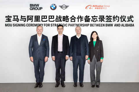 BMW and Alibaba management at the MoU Signing Ceremony for Strategic Partnership (from left to right): Mr. Sean Green, Senior Vice President of Sales and Marketing of BMW Brilliance Automotive Ltd., Mr. Jet Jing, Vice President of Alibaba Group and Secretary General of Enterprise Service for Alibaba Digital Economy, Mr. Jochen Goller, President and CEO of BMW Group Region China, Ms. Alice Mei, President and CEO of Lingyue Digital Information Technology Co., Ltd. (Photo: Business Wire)