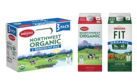 Darigold Northwest Organic Milk is available in a three-pack of 64oz cartons in whole, two percent, one percent, and skim milk varieties. Darigold FIT Organic Milk is available in two percent. (Photo: Business Wire)