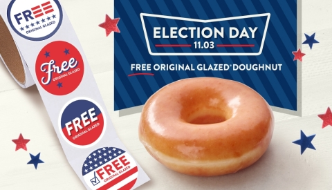 All guests will receive a free doughnut Nov. 3; brand also to provide 'I Voted' stickers (Photo: Business Wire)