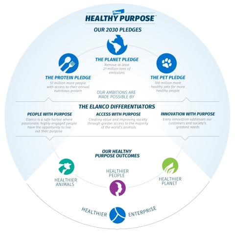 Elanco's Healthy Purpose 2030 sustainability pledges are powered by purposeful people, innovation and access. (Graphic: Business Wire)