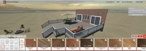 Screenshot of Fiberon's new Deck Designer, a 3D design tool that enables users to design an outdoor living space using the full offering of Fiberon decking, railing and cladding products. (Graphic: Business Wire)