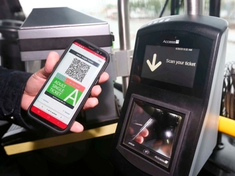 Access-IS VAL100 ticket validator alongside Masabi's My Fare solution (Photo: Business Wire)