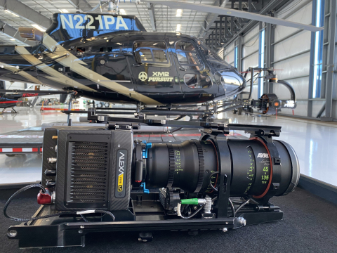 ARRI Alexa Mini LF and Signature Zoom 45-135 lens set-up with XM2 PURSUIT's helicopter rigged with their SHOTOVER K1 gimbal at their Van Nuys airport facility. (Photo: Business Wire)