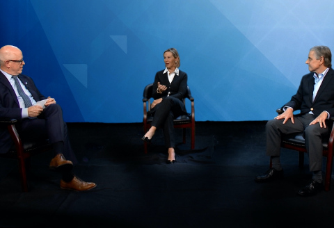 Northwell's senior vice president and chief development officer Brian Lally hosts an impact conversation with benefactor Susan Karches and Kevin J. Tracey, MD, president and CEO of Northwell's Feinstein Institutes for Medical Research. (Photo: Business Wire)